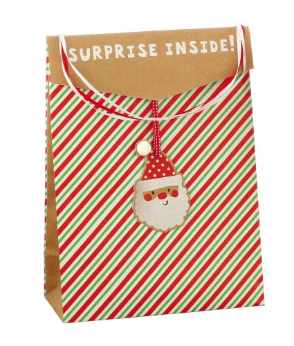 Festive Striped Christmas Gift Bag