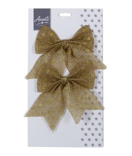 Natural Jute Star Print Bow Twin Pack - Gold