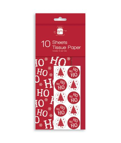 Ho Ho Ho Tissue Paper 10 pack