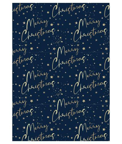Merry Christmas Midnight Blue 4m Christmas Wrapping Paper