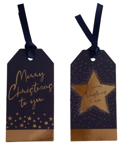 Merry Christmas Midnight Blue 10 Gift Tags