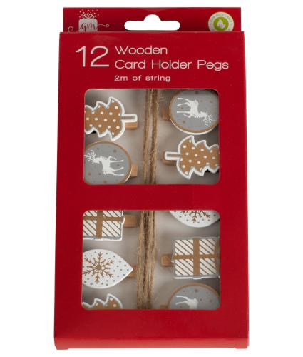 Contemporary Wooden Card Holder Pegs with String