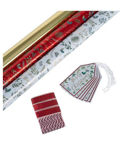 Merry Berry Red and Gold Gift Wrap & Tag Pack