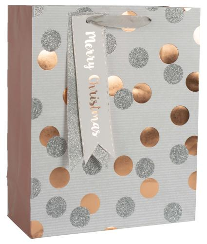 Silver and Rose Gold Spotty Gift Bag - Medium