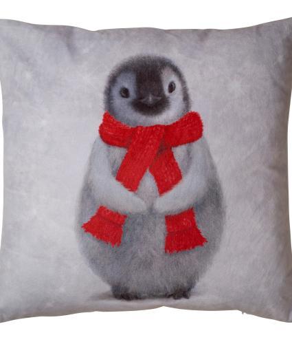 Large Winter Penguin Cushion