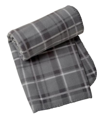 Grey Tartan Fleece Throw