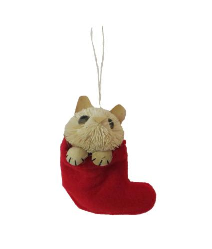 Cat In Stocking Christmas Tree Decoration