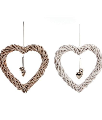 Pack of 2 White & Natural Hanging Wicker Hearts