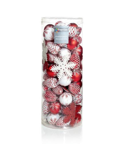 Red & White Bauble Pack of 84