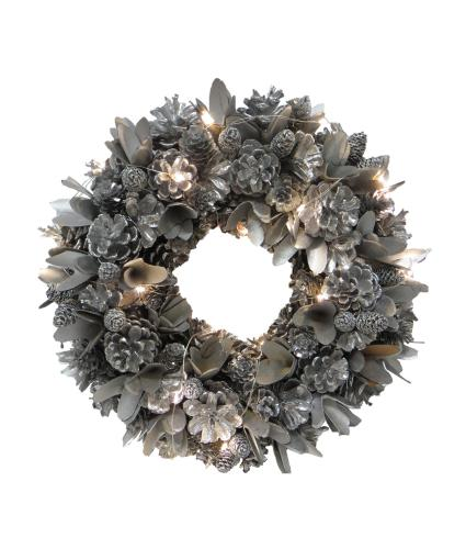 LED Festive Silver Christmas Wreath