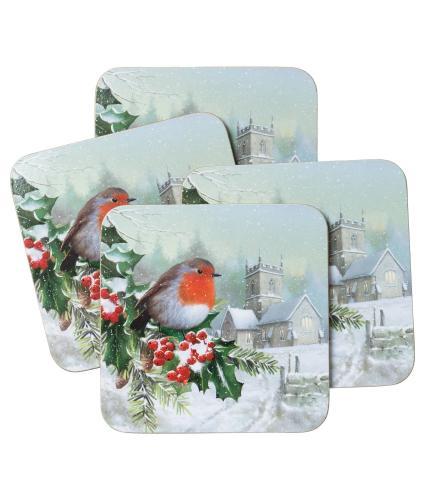 Winter Robin Coasters