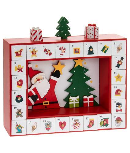 Santa with Tree Reusable Wooden Advent Calendar
