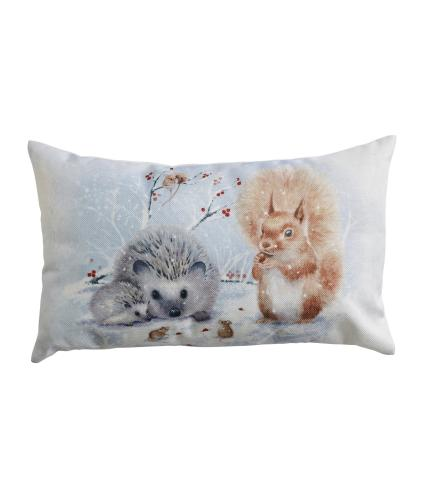 Winter Woodland Animal Bolster Cushion