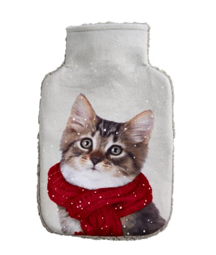 Winter Cat Hot Water Bottle