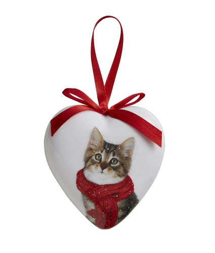 Winter Cat Heart Bauble