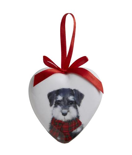 Winter Dog Heart Bauble