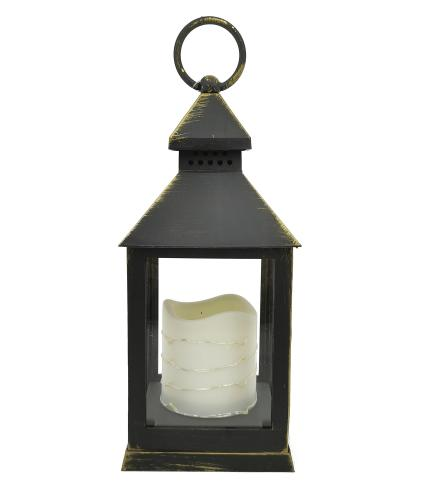 Flickering LED Candle Lantern with Timer Function - Black
