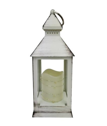 Flickering LED Candle Lantern with Timer Function - White