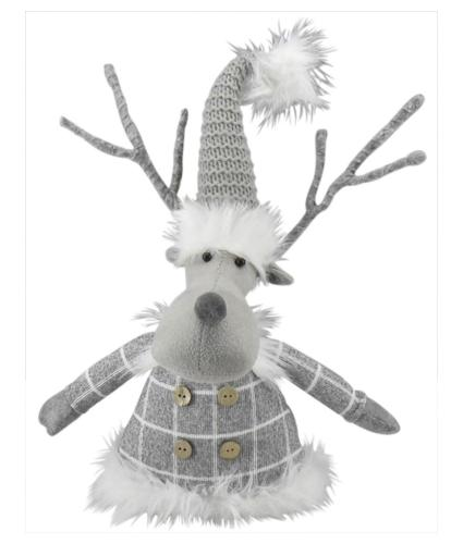 Sitting Grey Reindeer Door Stop