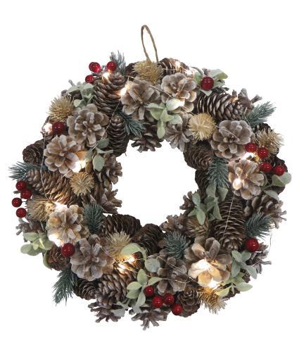 LED Lit Pine Cone, Berry & Eucalyptus Wreath