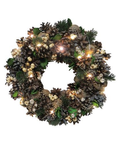 LED Lit Christmas Wreath - Traditional