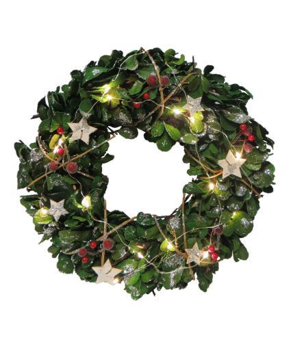 LED Lit Eucalyptus Christmas Wreath