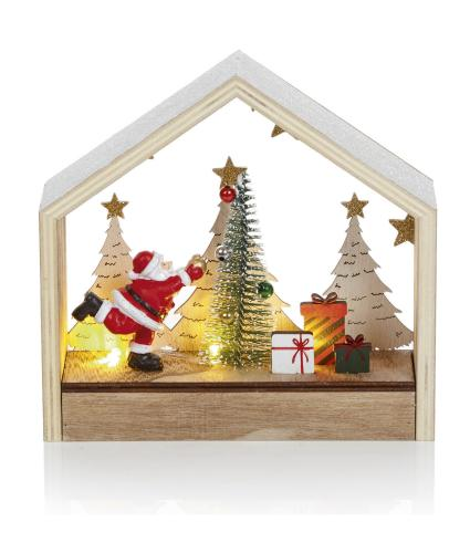 Lit Father Christmas Tree Scene Decoration
