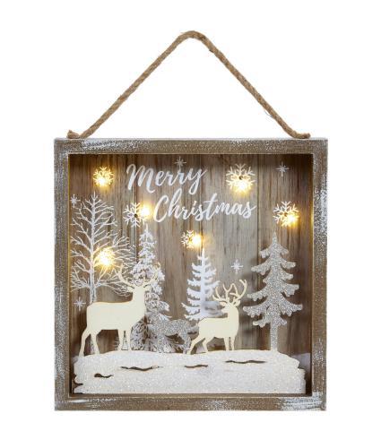 Lit Reindeer Forest Scene Hanging Decoration