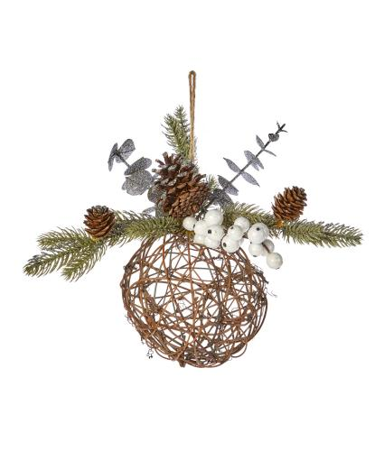 Berry & Foliage Wicker Bauble Decoration