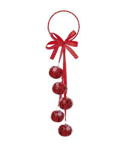 Jingle Bells Door Hanger Decoration - Red