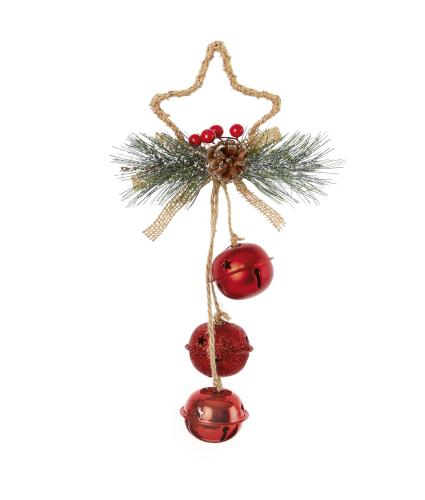 Jingle Bells Star Shaped Door Hanger Decoration - Red