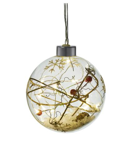 Rustic Filled LED Lit Glass Bauble - Snow & Berries