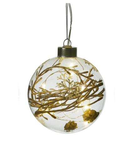 Rustic Filled LED Lit Glass Bauble - Golden Twigs