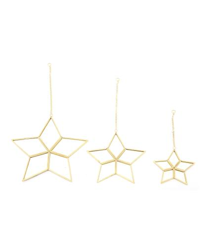 Mirrored Star Set of 3 Hanging Decorations
