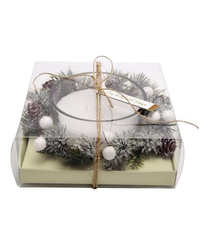 Fig & Wood Sage Wreath Candle Centrepiece