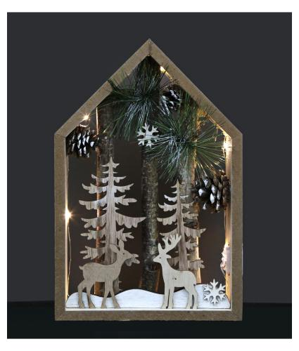 Wooden LED Lit Winter Wonderland Scene Decoration