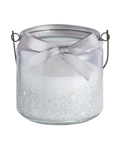 Silver Glitter Candle Pot