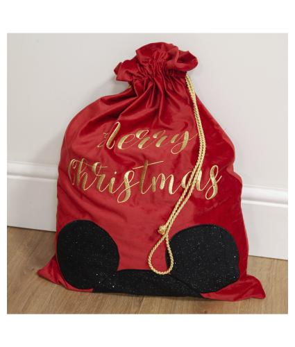 Disney Mickey Mouse Luxury Red Velvet Gift Sack
