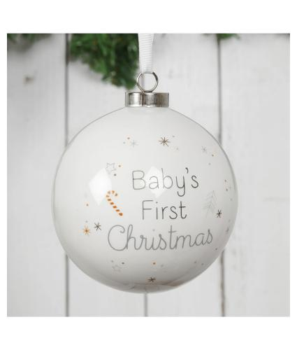 Baby's First Christmas White Ceramic Bauble in Gift Box