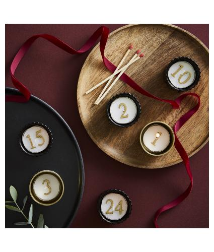 Advent Tealight Candles in Gold