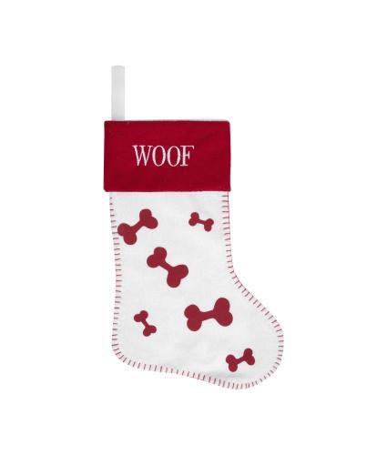 Woof! Red & White Dog Stocking