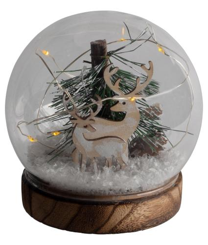 Reindeer in the Forest Light Up Glass Ball Decoration