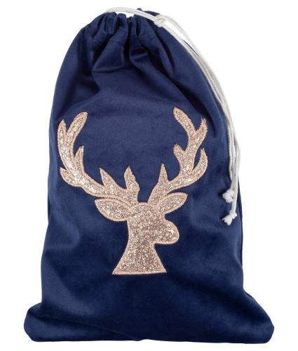 Blue Velvet Gift Bag with Gold Stag Head
