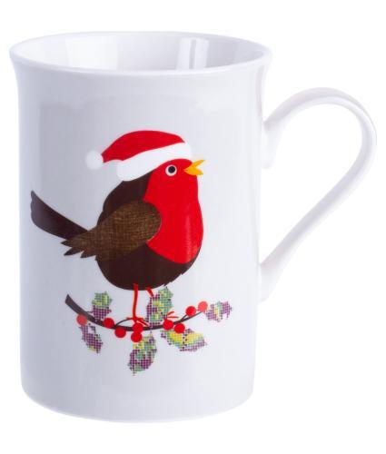 Festive Robin Boxed China Mug