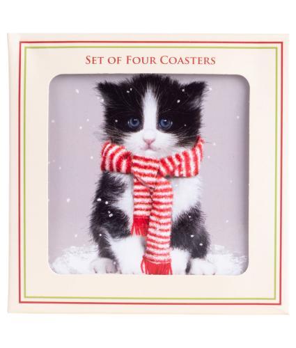 Winter Cat Coasters - Set of 4