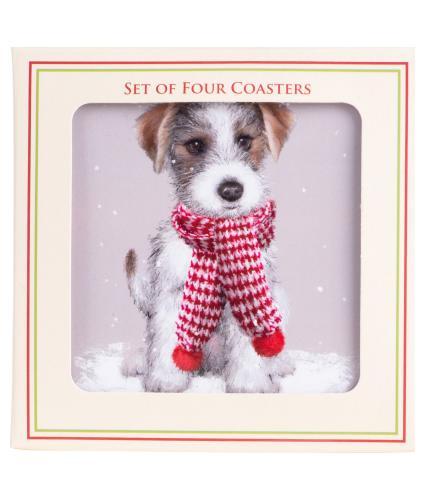 Winter Dog Coasters - Set of 4