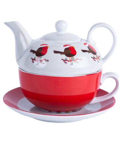 Festive Robin Tea for One Teapot and Cup Gift Set
