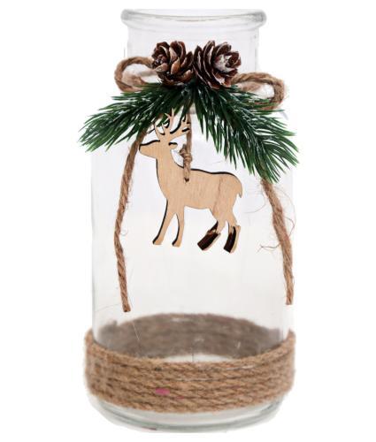 Glass Bottle Deer Decoration
