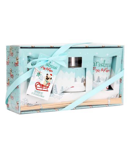 Christmas Pug Candle & Diffuser Set