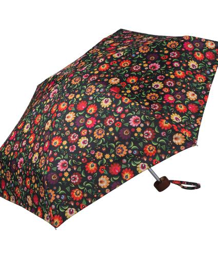 Orange Floral Print Umbrella